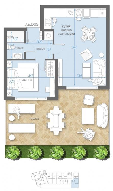 Двустаен апартамент с градина до плажа в Сарафово