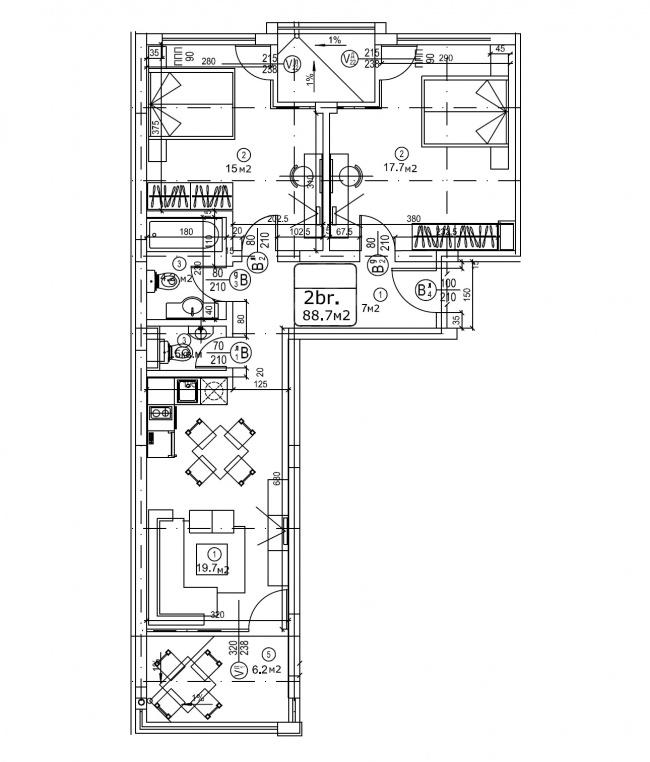 Обзаведен апартамент с 2 спални до плаж в Свети Влас